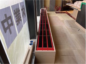 札幌市 回転寿司 根室花まる南郷店 温水床暖房 ユカカラ暖房MUTE  施工の模様